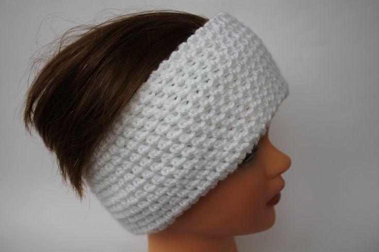 Opaska dwuwarstwowa na głowę szydełkowa biała - arteve - Opaski na głowę