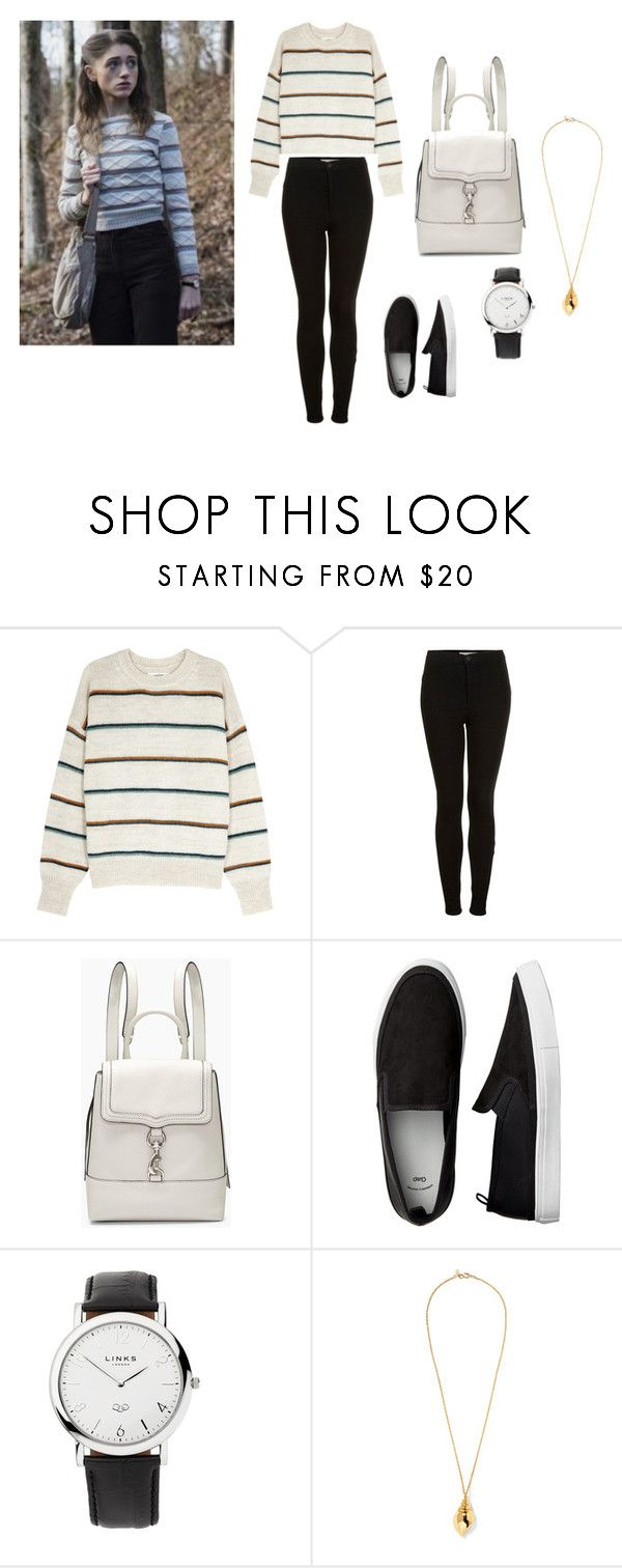 """Nancy Wheeler"" by gracie-33 ❤ liked on Polyvore featuring Étoile Isabel Marant, Topshop, Rebecca Minkoff, Links of London, Kenneth Jay Lane, StrangerThings and nancywheeler"