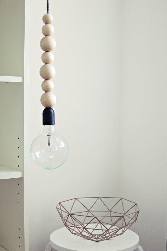 "Ahoj-2012 hanging lamp, lamp ""Pendant-light"" from wooden beads with zig-zag cable, lamp, wood, zik-ZAK, geometry, light, canopy, trend"