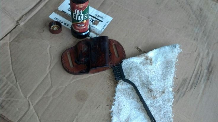 Using OLD ENGLISH Furniture Polish/scratch Cover (for Dark Wood) To Stain A  Leather Holster. This Tagua OWB Holster Works Fine For My Pt809 But Theu2026