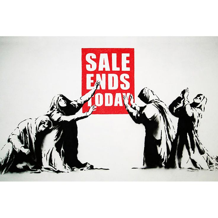 iART Banksy 'Sale Ends Today' Print Wall Art