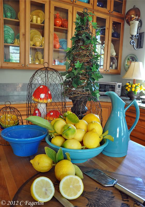The Little Round Table: Pucker Up! - wow - look at the Fiestaware cabinet display!