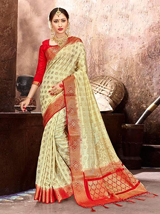b6c00d6289 Amazon.com: ELINA FASHION Sarees for Women's Banarasi Art Silk Woven Work  Saree l Indian Wedding Ethnic Sari & Blouse Piece (Cream): Clothing