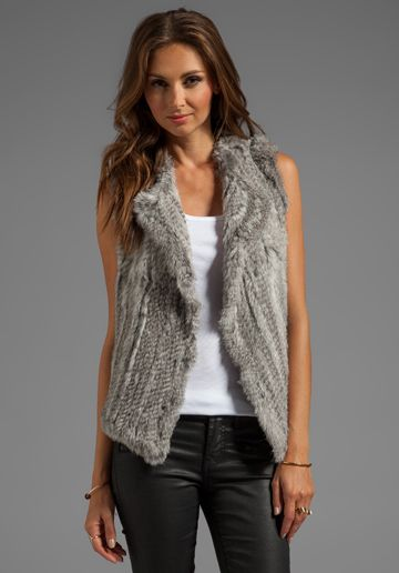 JOIE Knitted Rabbit Fur Andoni Vest in Grey Natural