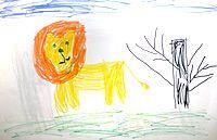 Детский рисунок лев