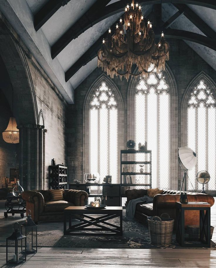 High Ceiling Exposed Beams And Tall Pointed Arch Windows All Have Such A Gothic Feel I Wouldn T Be Surprise Loft Style Furniture Gothic Interior Loft Style
