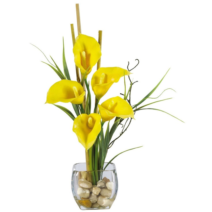43 best faux flower arrangements images on pinterest silk flowers yellow calla lilly liquid illusion silk flower arrangement feast your eyes upon the wispy leaves and delicate hues of color that adorn this wondrous mightylinksfo