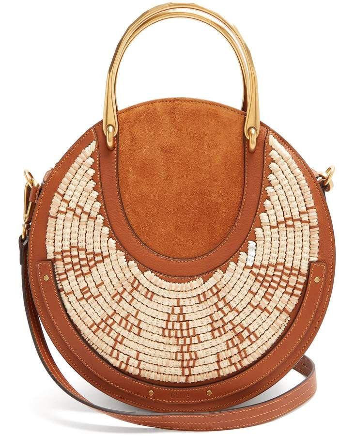 CHLOÉ Pixie leather and raffia cross-body bag