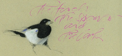 Pastel drawing of finch, with calligraphy by Georgia Deaver.