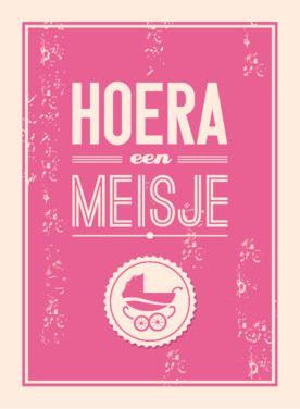 Hoera een meisje, met retro look | Greetz.nl #greetingcard