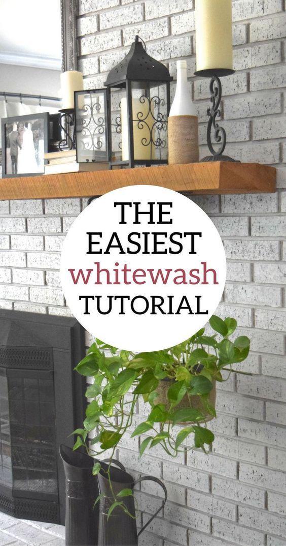 whitewash brick fireplace | whitewash fireplace | how to white wash brick | white wash brick | whitewash brick fireplace diy | diy whitewash