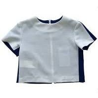 MiMiSol - Girls Bi-Color Jersey Crop Top, White And Blue