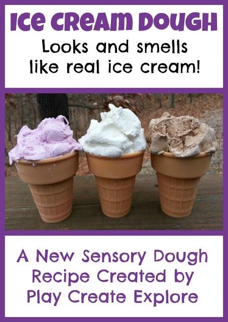 Ice-cream dough - #cornflour + #hair conditioner; http://www.playcreateexplore.org/2013/01/ice-cream-dough-new-play-recipe.html