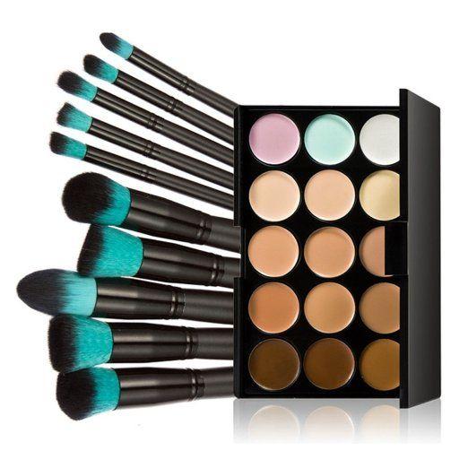 LEORX Contorno viso Kit evidenziatore Palette di trucco Kit 15 colori correttore crema con 10pcs pennello