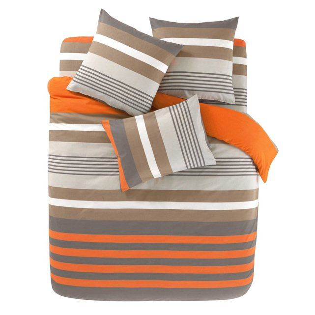 RYTHME Orange Duvet Cover and Oblong Pillowcase(s) Set