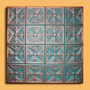 Antique Ceiling Tile 20x20 Margareta Copper Patina Tin Look Styrofoam Painted | eBay