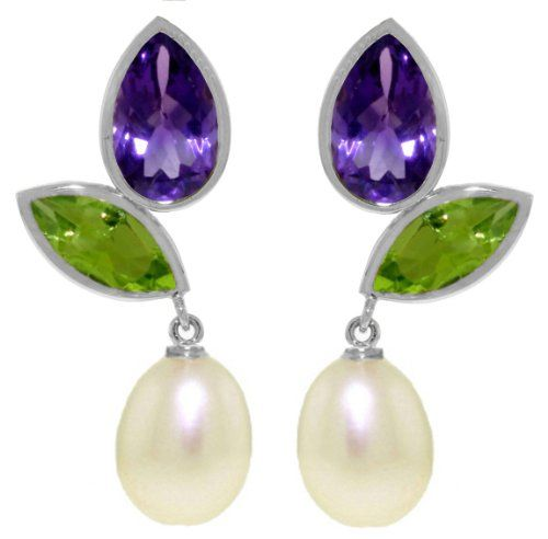 14k White Gold Dangle Earrings with Amethysts, Peridots and Pearls -