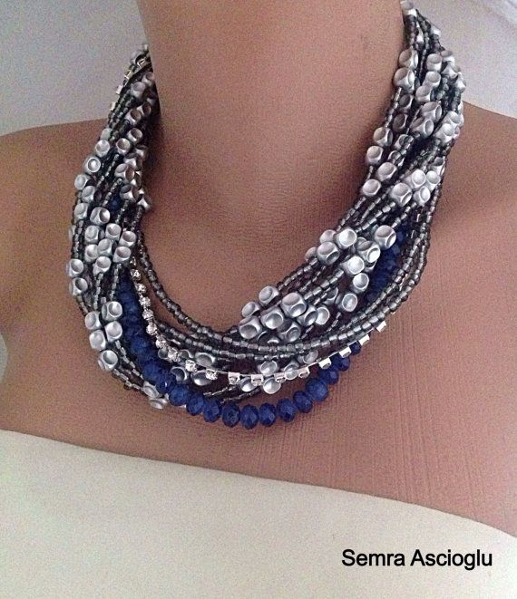 Nautical Wedding Jewelry, Chunky Pearl Necklace, Midnight Blue , Bridal Jewelry,Silver Navy Wedding Theme, Beaded  Necklace Chunky Necklace