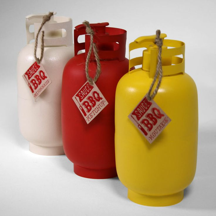 Nothing says BBQ like condiment packaging shaped as gas tanks. Truly unique design by Vincent Tourigny.
