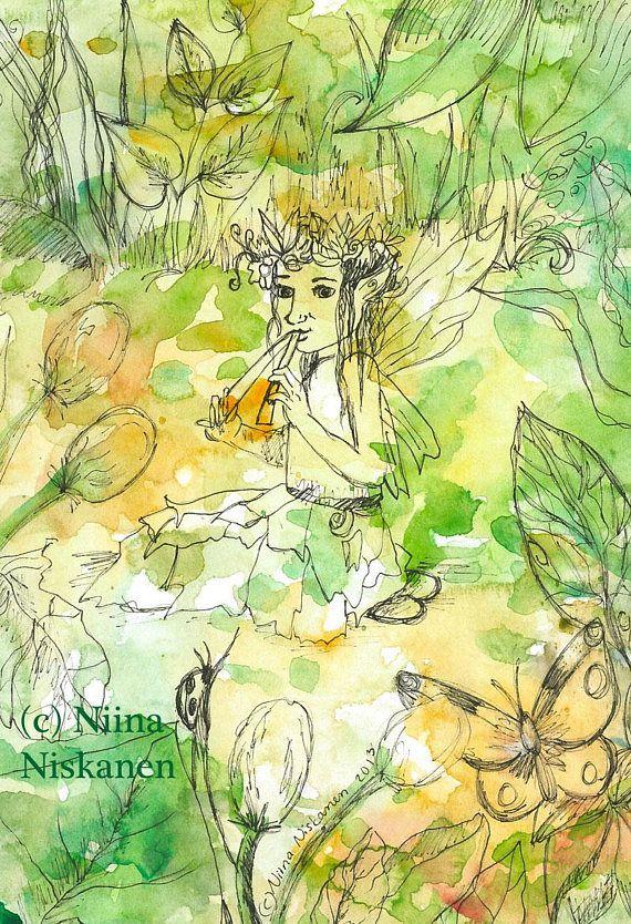 Summer Tunes Fairy Postcard Fantasy Postcard Watercolor Art