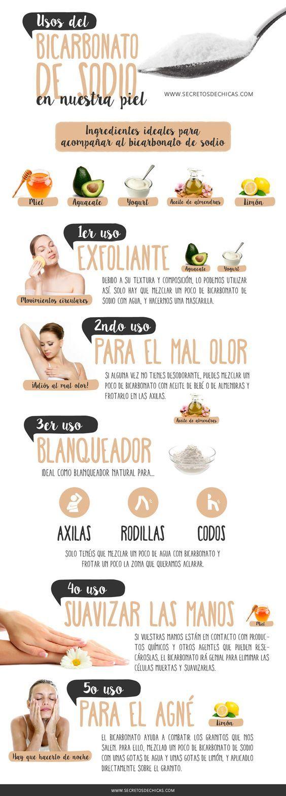 Os benefícios do Bicarbonato de Sódio. 1- Uso como Esfoliante, 2- Para Mau cheiro, 3-Como branqueador, 4- para mãos mais macias, 5- para acne