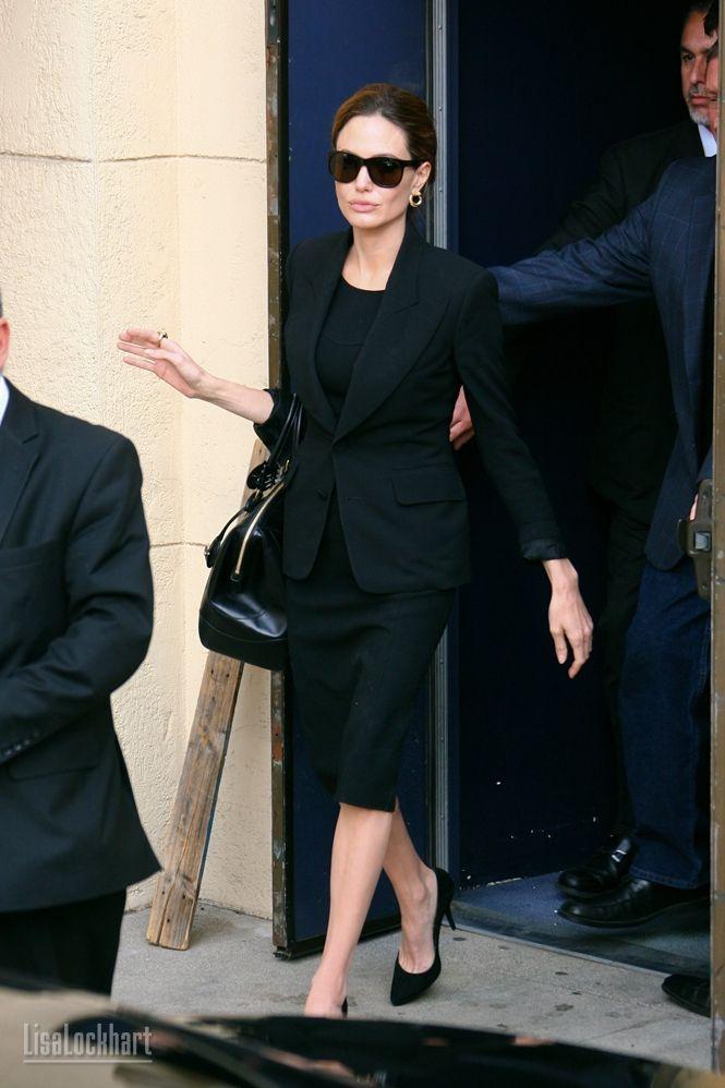 Angelina Jolie ... all black everything www.stylishstarlets.blogspot.com