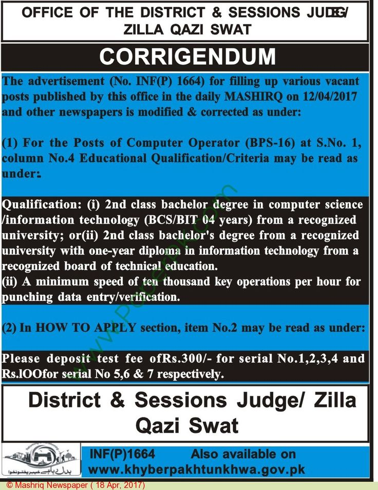 District & Session Court Swat Jobs