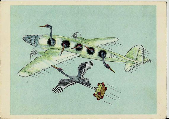 Cranes migrate to warmer climes  Vintage Russian by LucyMarket