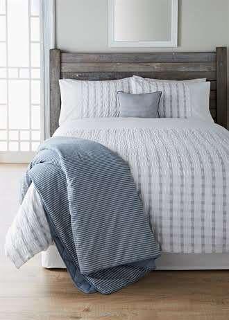 100% Cotton Textured Seersucker Stripe Duvet Cover