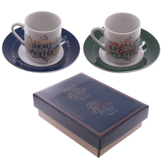 Coffee Cup Set of 2 Espresso Cups and Saucer by getgiftideas