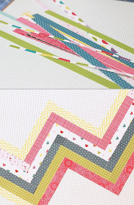How to create chevron patterns from paper scraps. Tutorial: http://bellablvd.typepad.com/bella_blvd/2012/08/designer-tutorials-embossing-on-chipboard-alphas-creating-chevron-zig-zags.html