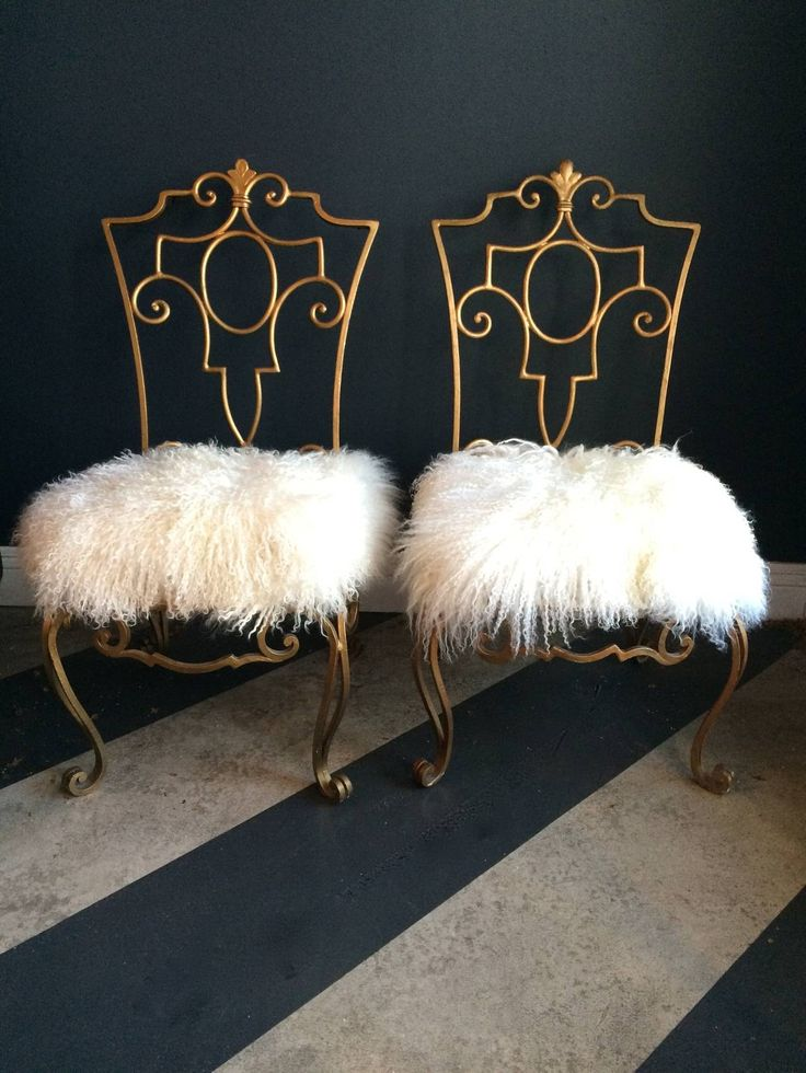 Pair of Jean-Charles Moreux Wrought Iron Chairs with Mongolian Fur ...