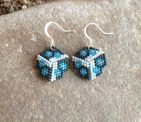 Blue Flowers Triangle Beaded Earrings