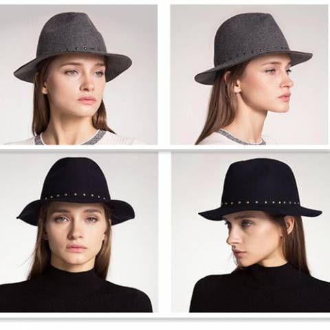 Studded fedora hat for women warm wool hats