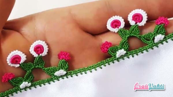 Yapraklı Fıstıklı Modeli Tığ Oyası Yapılışı Videolu Anlatımlı #elişi #örgü #moda