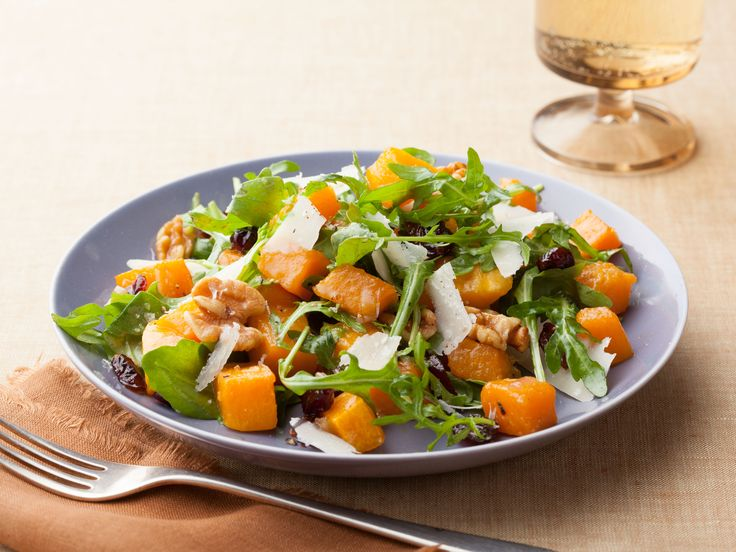 Roasted Butternut Squash Salad with Warm Cider Vinaigrette recipe from Ina Garten via Food Network