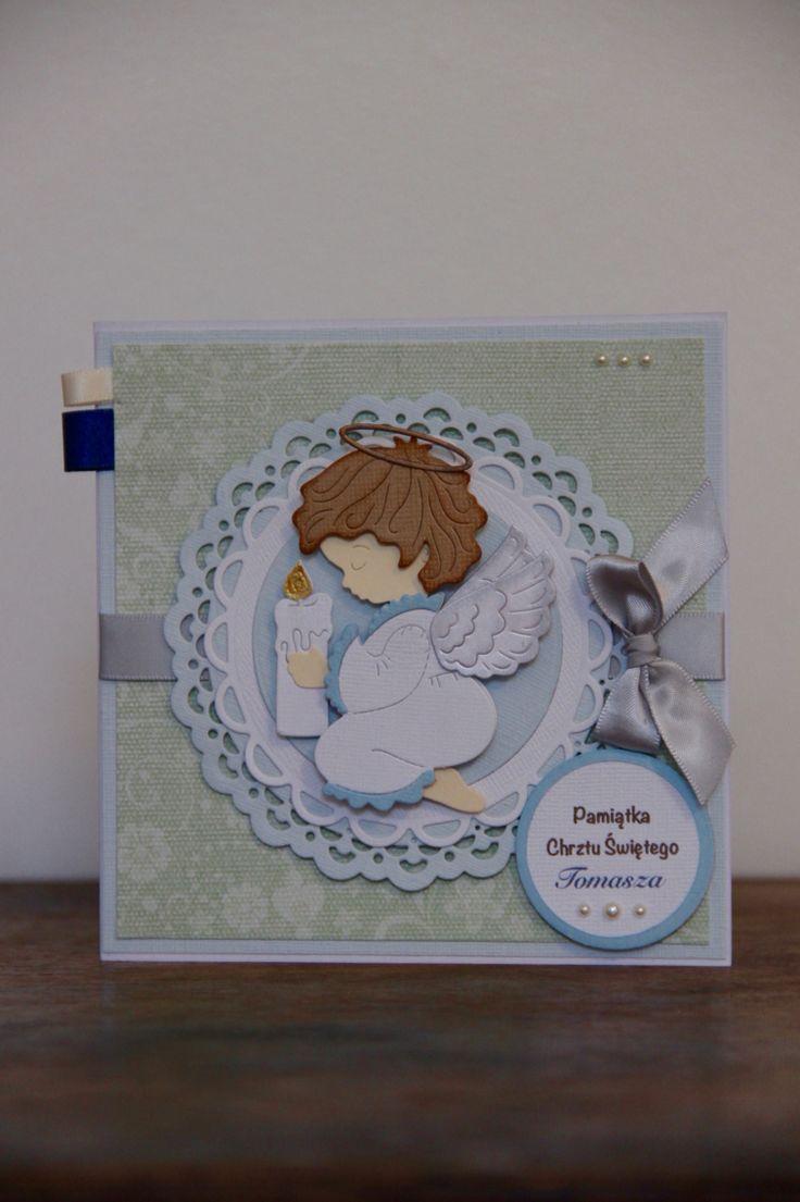 Kartka na Chrzest Święty z Aniolkiem