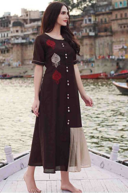 Dark Brown & Beige Resham Embroidered Silk Designer Kurti-WKR1297