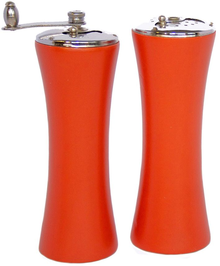 Orange salt and pepper shakers in metal and wood