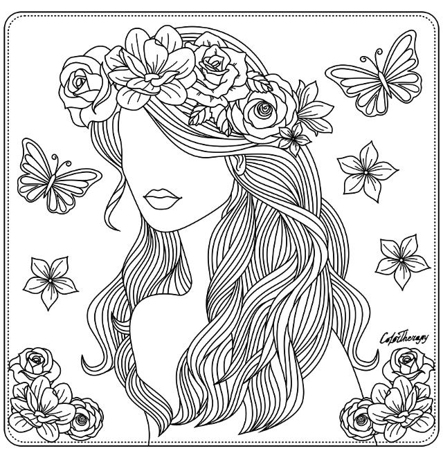 Girl with floral hair wreath coloring