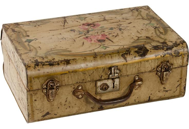 Vintage Hand-Painted Metal Suitcase