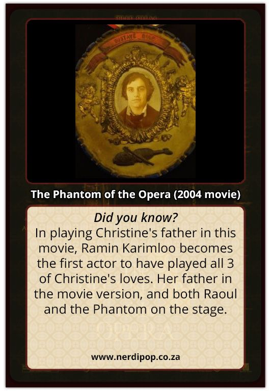 Ramin Karimloo is the only person to have played all three men close to Christine in Phantom