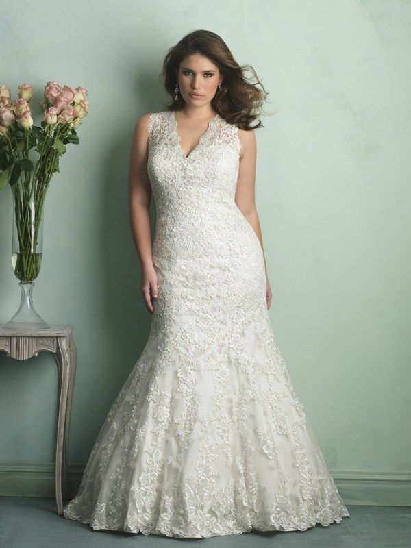 W340 Allure Women Bridal Gown - This delicate wedding gown features a vintage appeal with sheer, lace-covered English net overdress and a demure V-neck.
