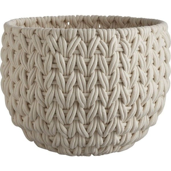 CB2 Conway Large Basket (170 AUD) ❤ liked on Polyvore featuring home, home decor, small item storage, weave basket, white home decor, white baskets, woven baskets and white woven baskets