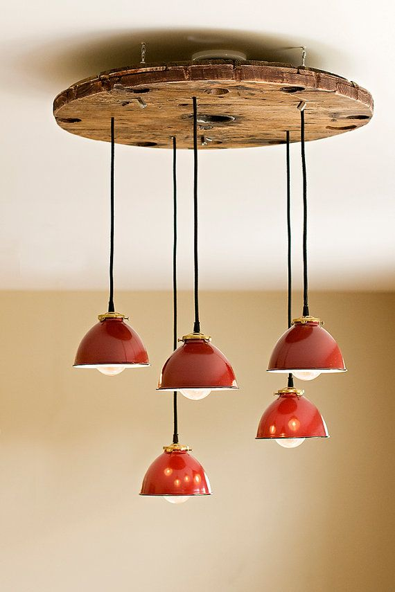 Industrial metal shade pendant chandelier by OldeBrickLighting, $550.00.  My hubby could make this for FREEE.  Yeehaw.