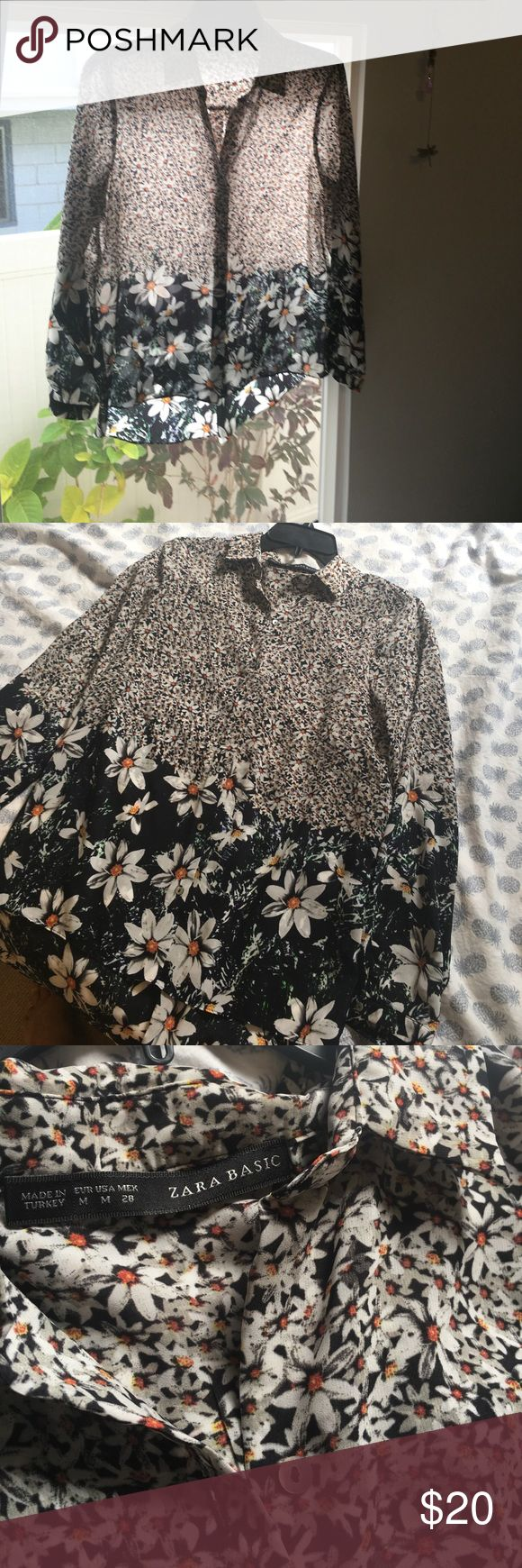 🌼Gorgeous Zara silk shirt 🌼 Beautiful daisy print fabric, perfect office or casual date outfit,, tags cut but otherwise spotless condition 🤗 Zara Tops Button Down Shirts