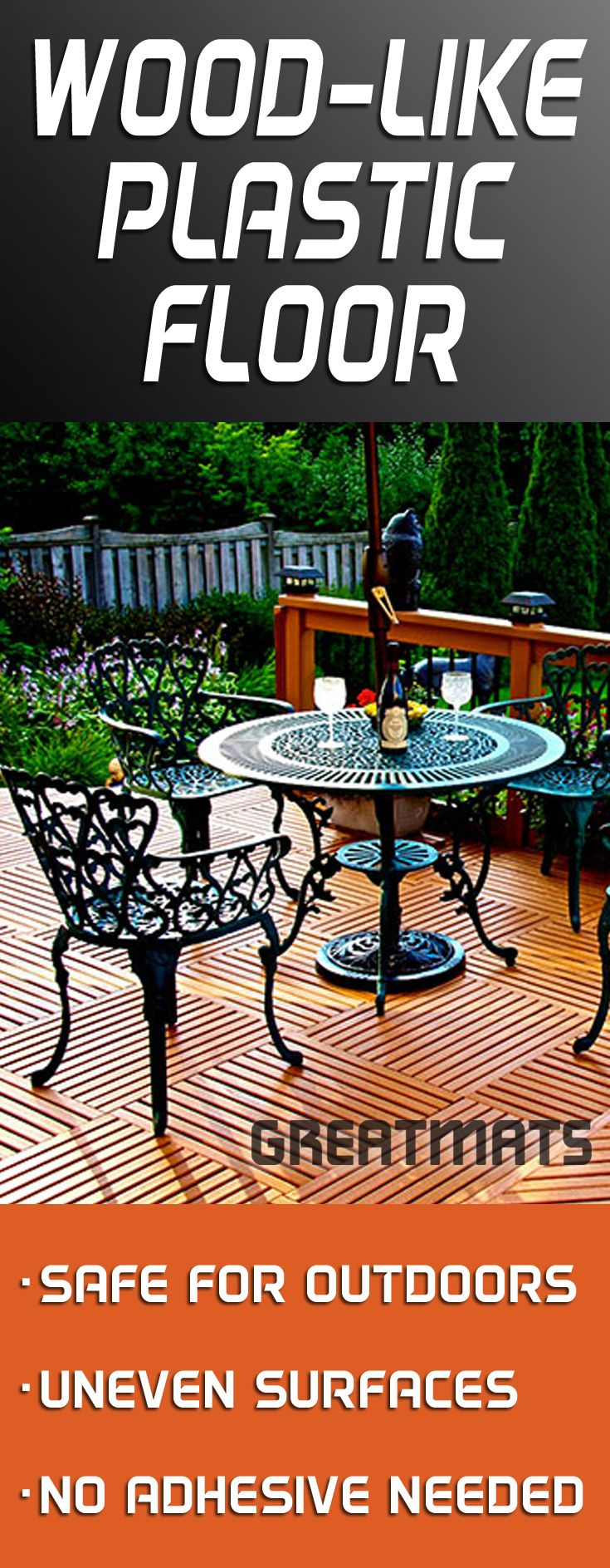 Plastic Floor and Wood Plank Look - the best of both world come together for GreatDeck Outdoor Plastic Deck Tiles.