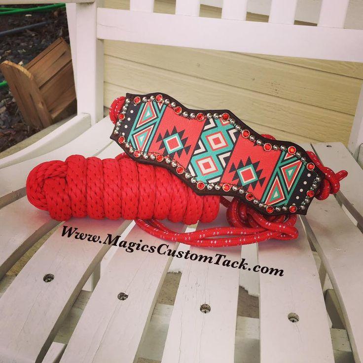 Magics Custom tack Red Bling Rope Bronc Halter Www.magicscustomtack.com