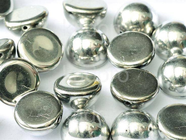 Dome Bead Silver 12x7mm - 1 sztuka  Szkło  »  Dome Beads  »  Dome Beads 12x7 mm