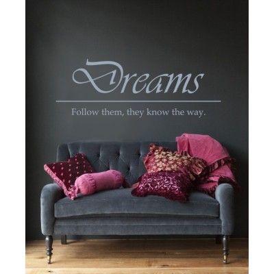 Muursticker - Muurtekst Dreams - Wallsticker - Woningdecoratie - decoratie - wanddecoratie